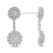 10K White Gold 2.83 ct Round Diamond Fashion Drop Earrings|***Complete Earrings