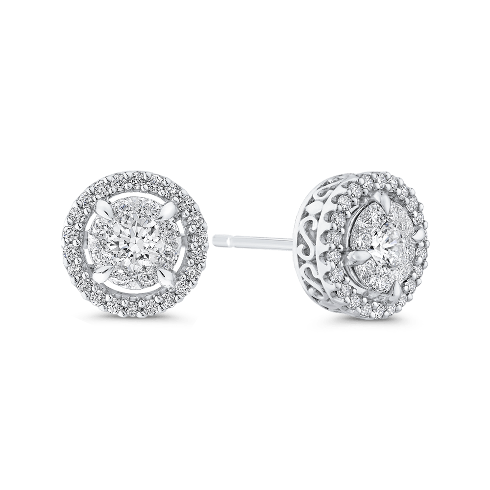 10K-White-Gold-Round-3/4-ct-Diamond-Double-Halo-Stud-Earrings