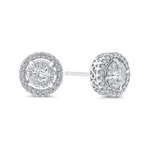 Image of 10K-White-Gold-Round-3/4-ct-Diamond-Double-Halo-Stud-Earrings