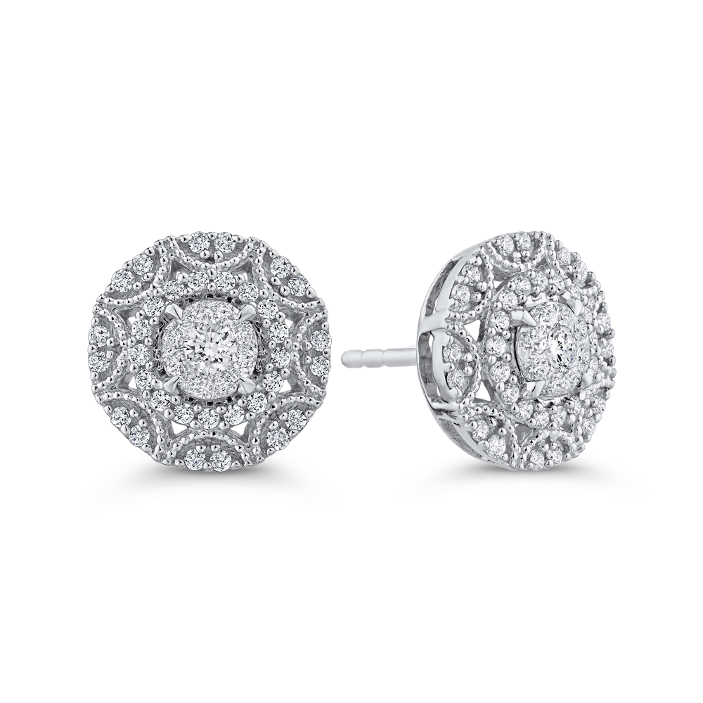 10K-White-Gold-Round-5/8-ct-Diamond-Fashion-Cluster-Stud-Earrings