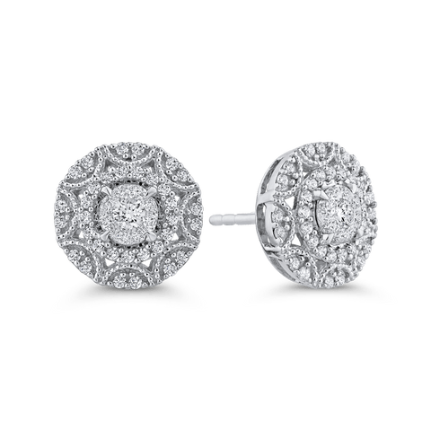 Image of 10K-White-Gold-Round-5/8-ct-Diamond-Fashion-Cluster-Stud-Earrings