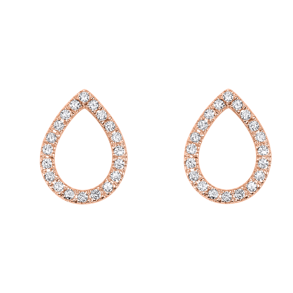 14KTR Diamond Dainty Delicacies Pear Pave Flyer Earring 1/12 Ct Earrings BW James Jewelers