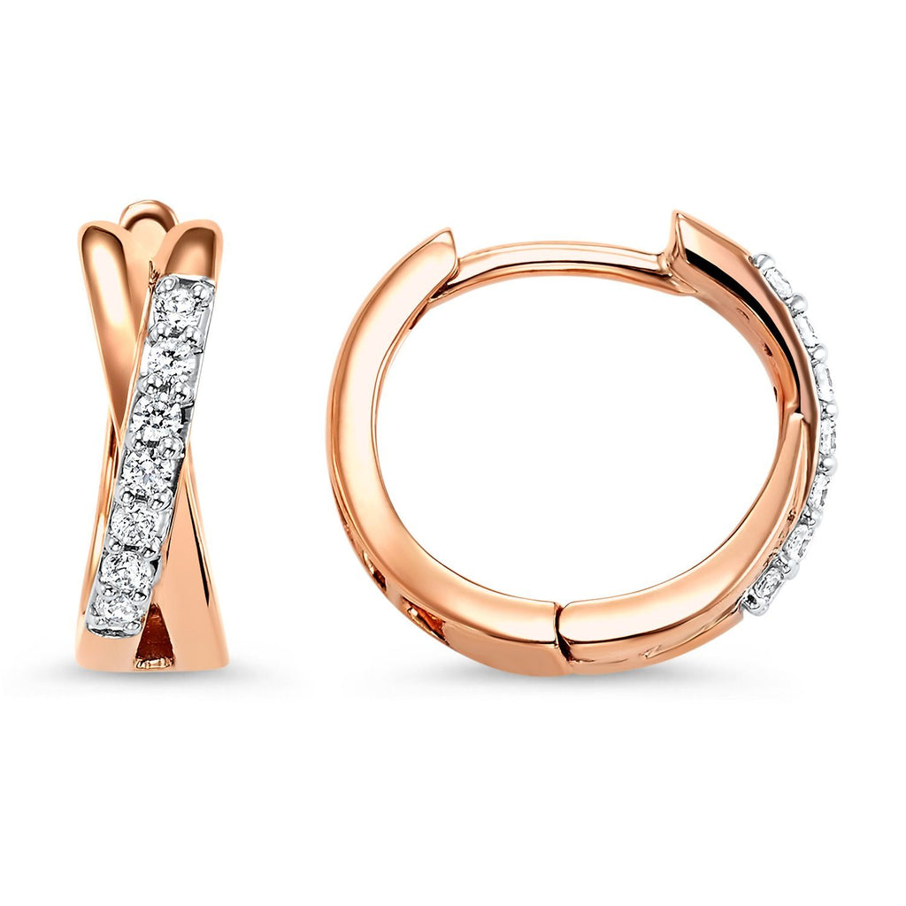 Rose Gold Twist Diamond Earrings Earrings BW James Jewelers