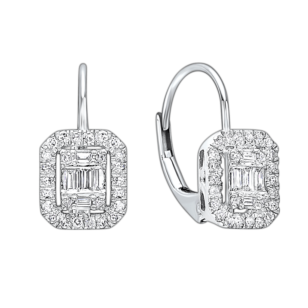 14KTW Diamond Baguette Cushion Pave Flyer Earring 1/5 Ct Earrings BW James Jewelers