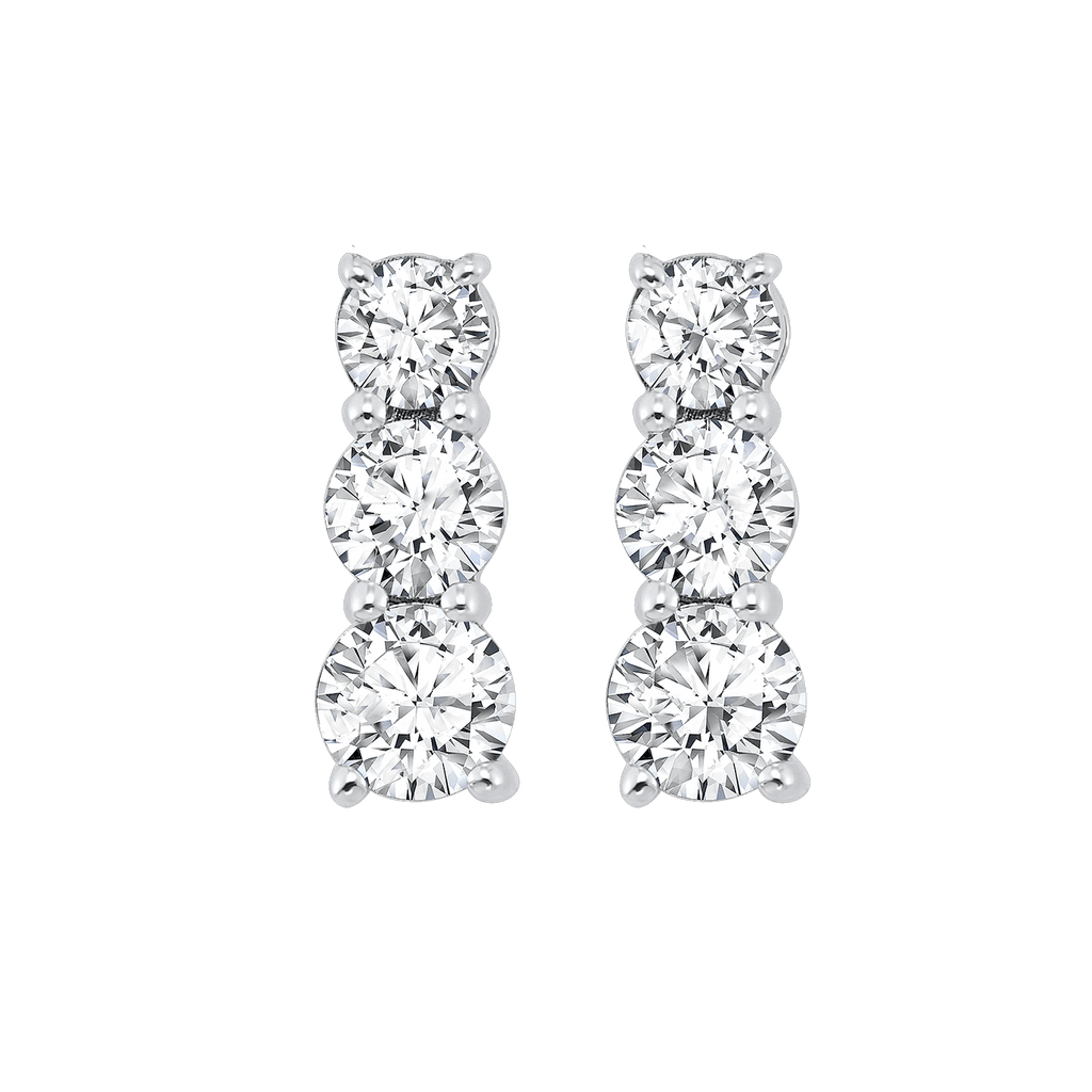 SS 3 Stone Round Prong Earrings 1/3 Ctw Earrings BW James Jewelers