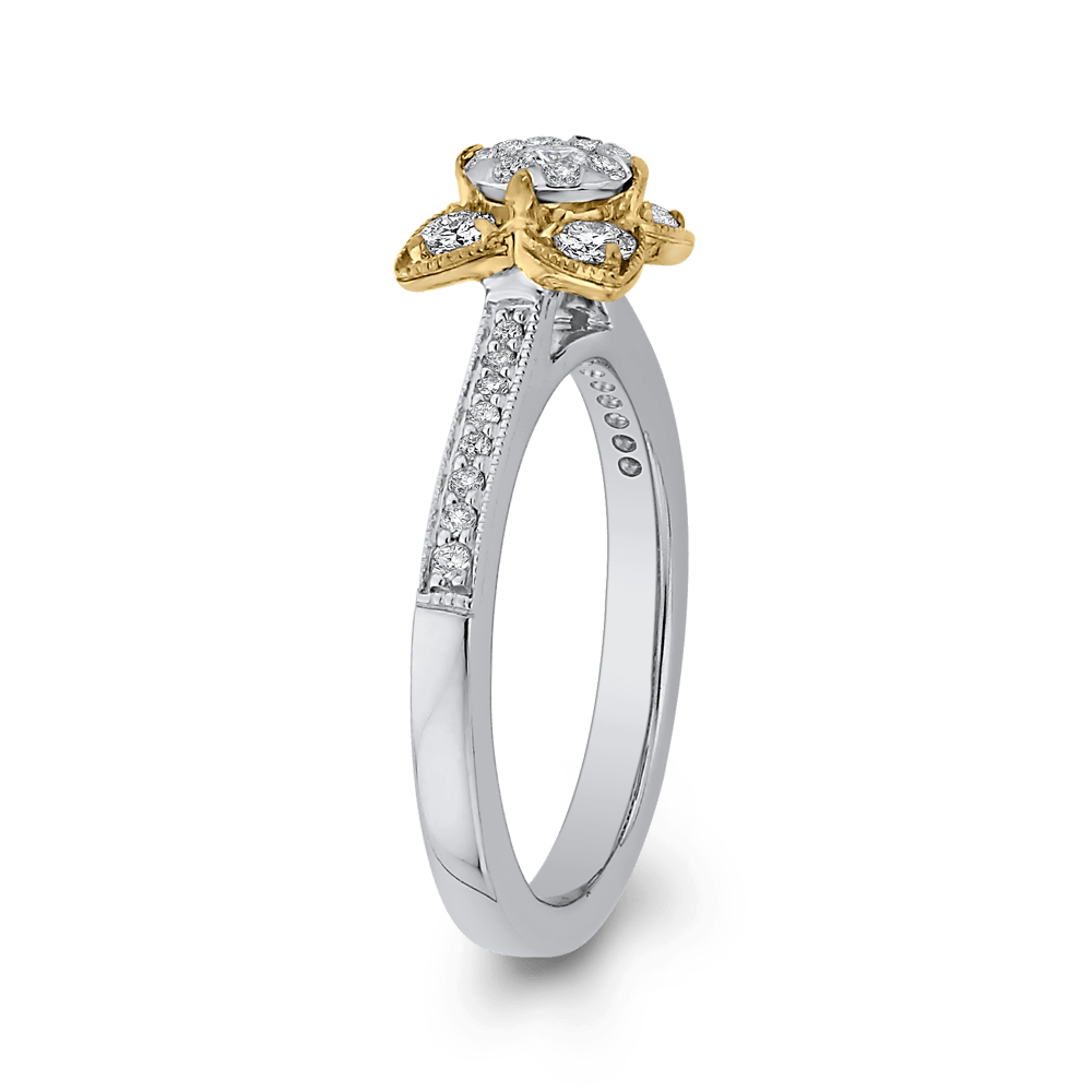 10K Two Tone Gold 1/2 ct Round White Diamond Flower Style Fashion Ring|***Complete Ring Engagement Ring LUMINOUS