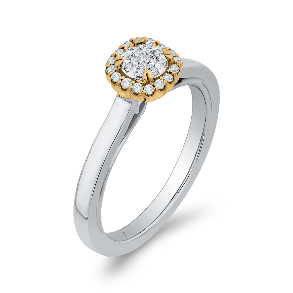 10K Two Tone Gold 1/4 ct Round White Diamond Double Halo Fashion Ring|***Complete Ring Engagement Ring LUMINOUS