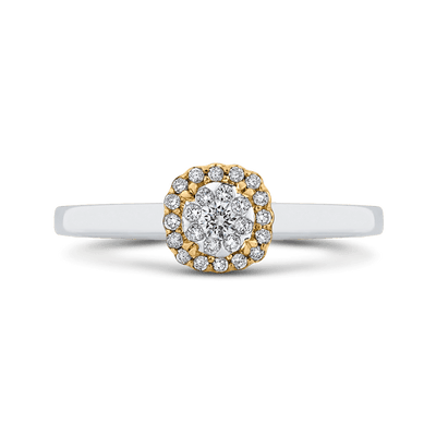 10K Two Tone Gold 1/4 ct Round White Diamond Double Halo Fashion Ring|***Complete Ring