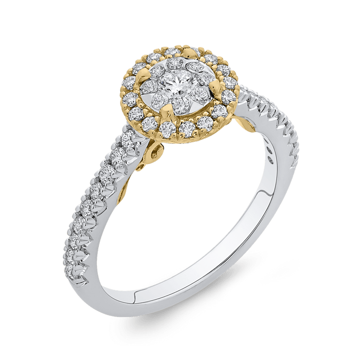 10K Two Tone Gold 2/3 ct Round White Diamond Double Halo Fashion Ring|***Complete Ring Engagement Ring LUMINOUS