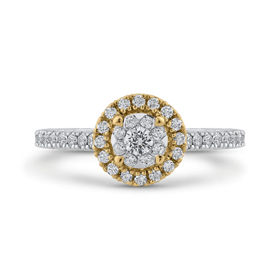 10K Two Tone Gold 2/3 ct Round White Diamond Double Halo Fashion Ring|***Complete Ring