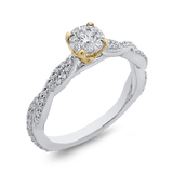 10K Two Tone Gold 1/2 ct Round White Diamond Halo Fashion Ring|***Complete Ring Engagement Ring LUMINOUS