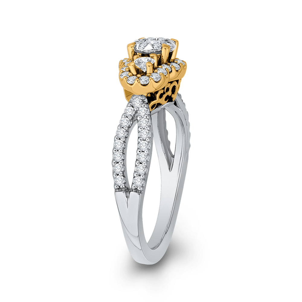 3/4 ct Round Diamond 10K Two Tone Gold Criss Cross Fashion Ring|***Complete Ring Engagement Ring LUMINOUS