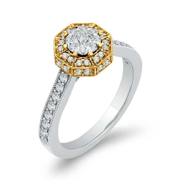 10K Two Tone Gold 2/3 ct Round White Diamond Octagon Shape Fashion Ring|***Complete Ring Engagement Ring LUMINOUS