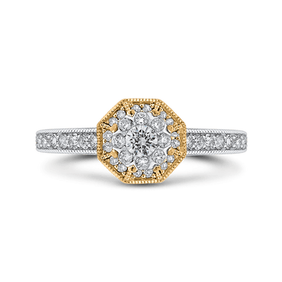 10K Two Tone Gold 2/3 ct Round White Diamond Octagon Shape Fashion Ring|***Complete Ring