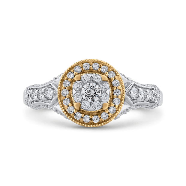 10K Two Tone Gold 7/8 ct Round White Diamond Double Halo Fashion Ring|***Complete Ring Engagement Ring LUMINOUS