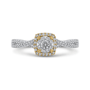 10K Two Tone Gold 1/2 ct Round Diamond Crossover Shank Fashion Ring|***Complete Ring Engagement Ring LUMINOUS