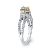 10K Two Tone Gold 2/3 ct Round Diamond Fashion Ring|***Complete Ring Engagement Ring LUMINOUS