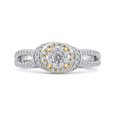 10K Two Tone Gold 2/3 ct Round Diamond Fashion Ring|***Complete Ring