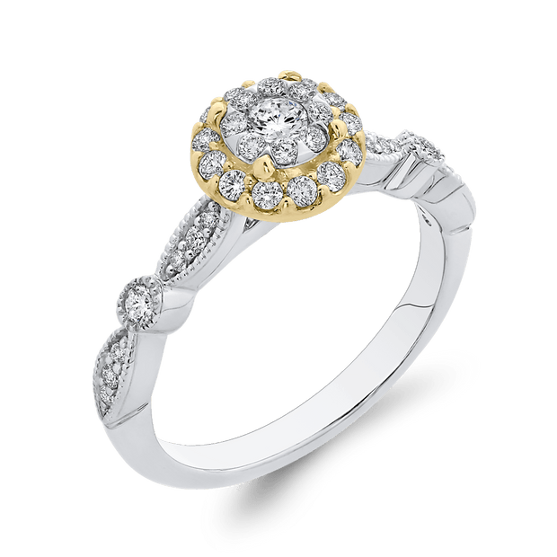 10K Two Tone Gold 1/2 ct Round White Diamond Double Halo Fashion Ring|***Complete Ring Engagement Ring LUMINOUS