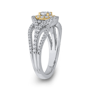 1 ct Round Diamond 10K Two Tone Gold Criss Cross Fashion Ring|***Complete Ring Engagement Ring LUMINOUS
