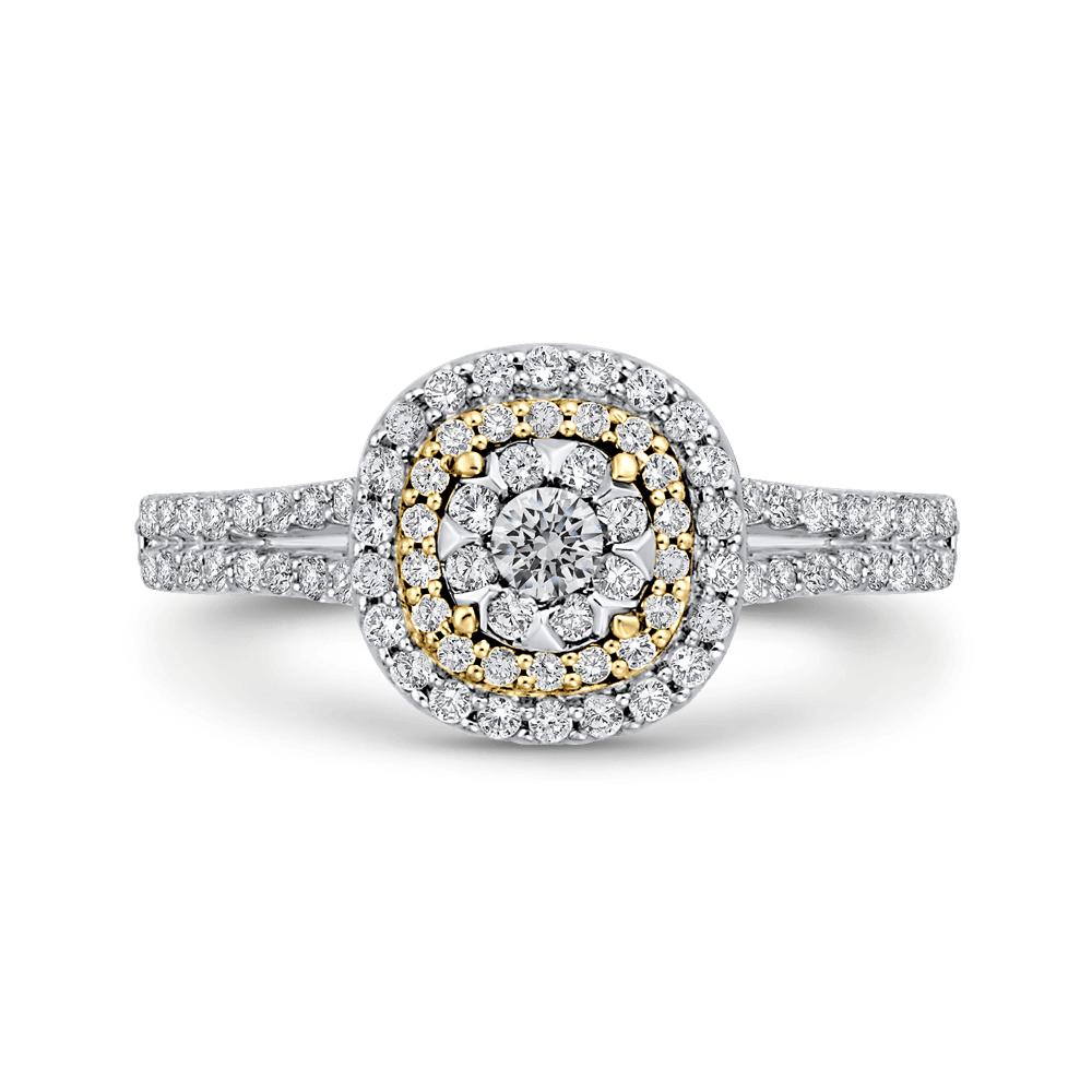 10K Two Tone Gold 5/8 ct Round Diamond Fashion Ring|***Complete Ring Engagement Ring LUMINOUS