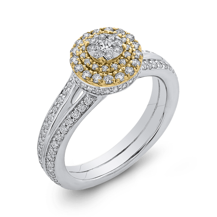 10K Two Tone Gold 3/4 ct Round White Diamond Split Shank Fashion Ring|***Complete Ring