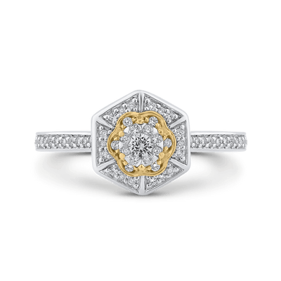 10K Two Tone Gold 1/3 ct Round White Diamond Hexagon Shape Fashion Ring|***Complete Ring