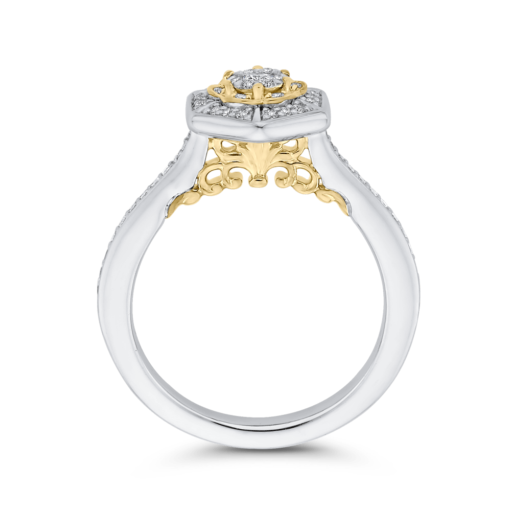 10K Two Tone Gold 1/3 ct Round White Diamond Hexagon Shape Fashion Ring|***Complete Ring Engagement Ring LUMINOUS