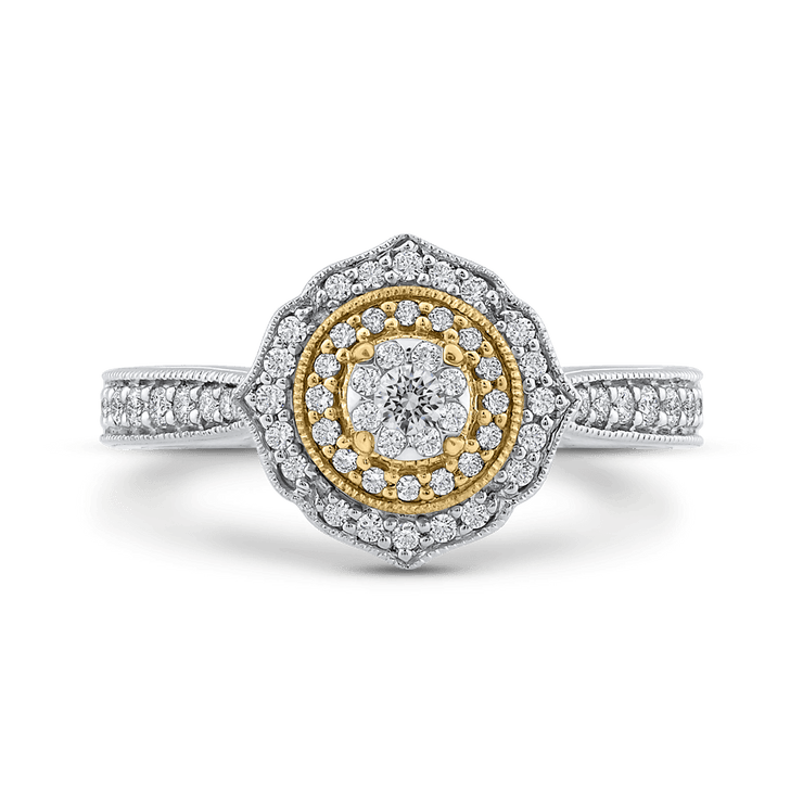 1/2 ct Round Diamond Fashion Ring In 10K Two Tone Gold|***Complete Ring Engagement Ring LUMINOUS