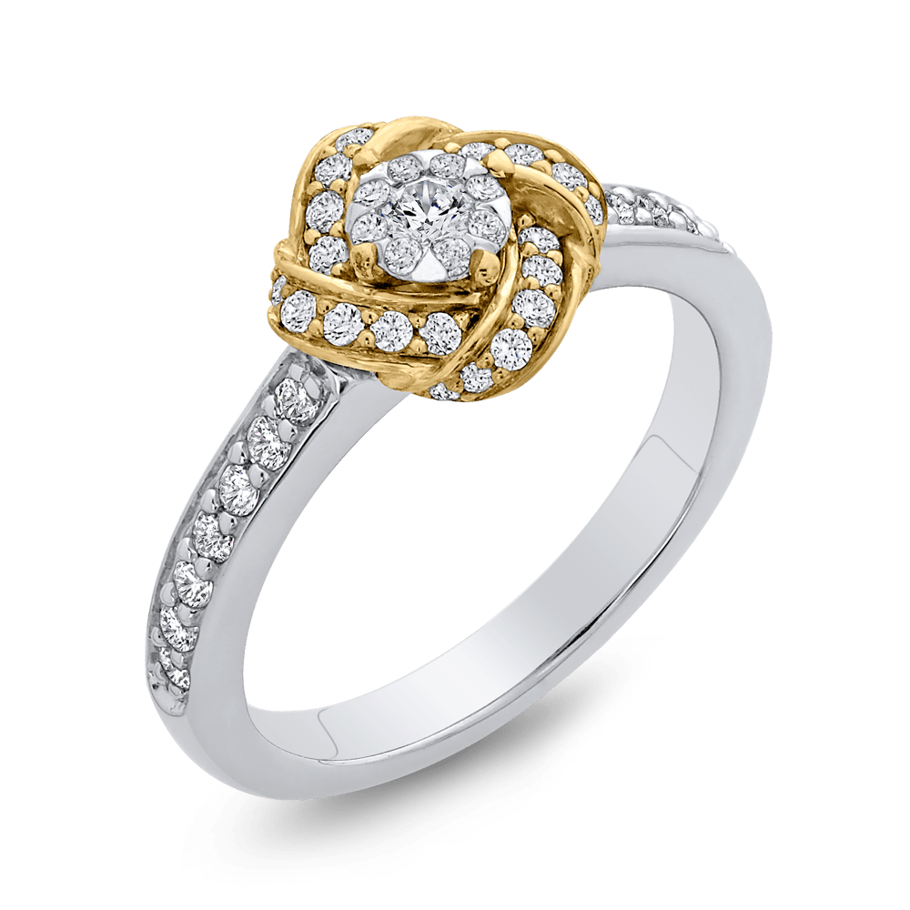 1/2 ct Round Diamond Knotted Fashion Ring In 10K Two Tone Gold|***Complete Ring Engagement Ring LUMINOUS