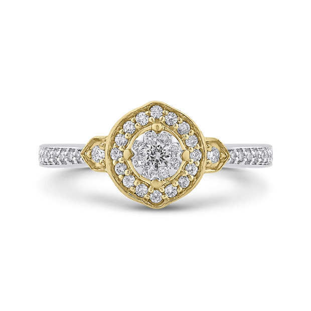 1/3 ct Round Diamond Fashion Ring In 10K Two Tone Gold|***Complete Ring Engagement Ring LUMINOUS