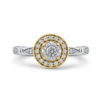 10K Two Tone Gold 1/3 ct Round White Diamond Double Halo Fashion Ring|***Complete Ring
