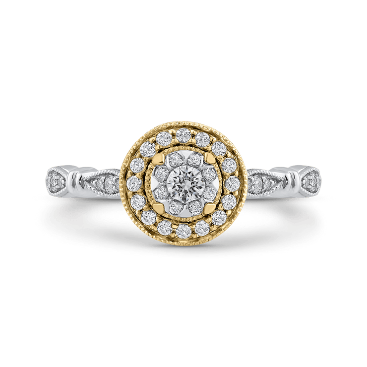 10K Two Tone Gold 1/3 ct Round White Diamond Double Halo Fashion Ring|***Complete Ring Engagement Ring LUMINOUS