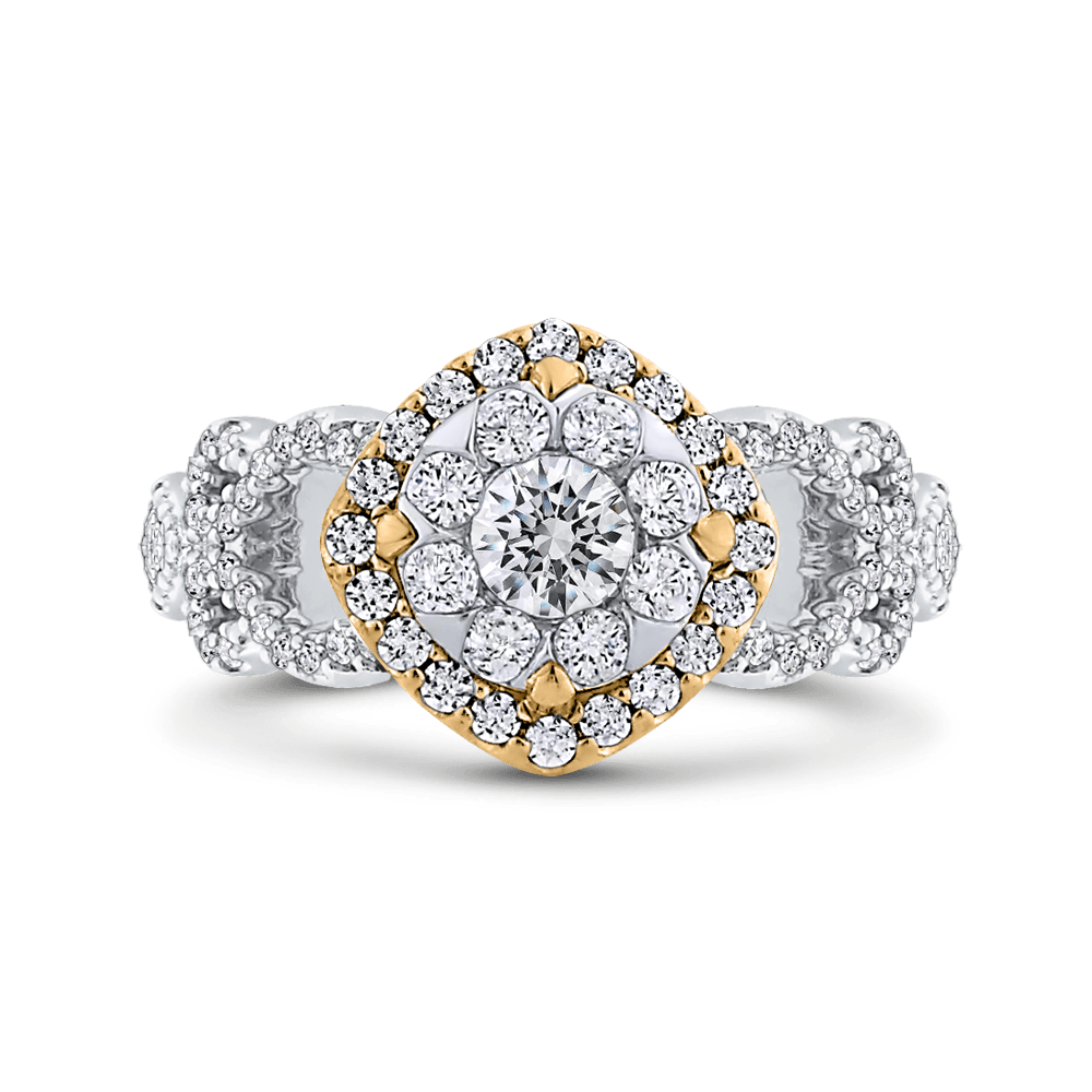 1 ct Round White Diamond Fashion Ring In 10K Two Tone Gold|***Complete Ring Engagement Ring LUMINOUS