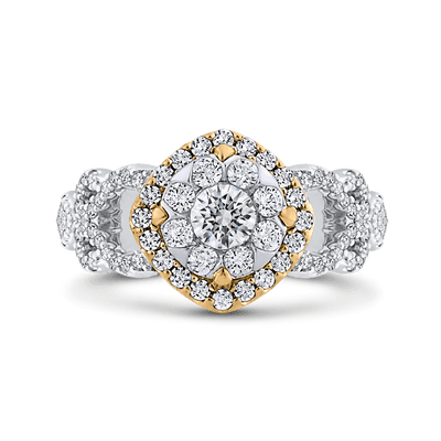 1 ct Round White Diamond Fashion Ring In 10K Two Tone Gold|***Complete Ring