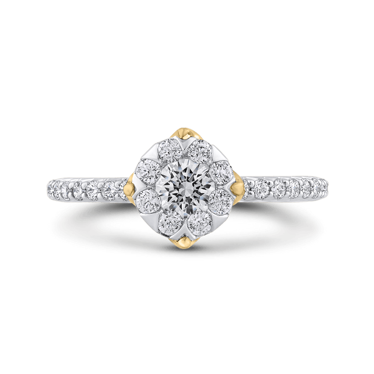 10K Two Tone Gold 7/8 ct Round Diamond Halo Fashion Ring|***Complete Ring Engagement Ring LUMINOUS