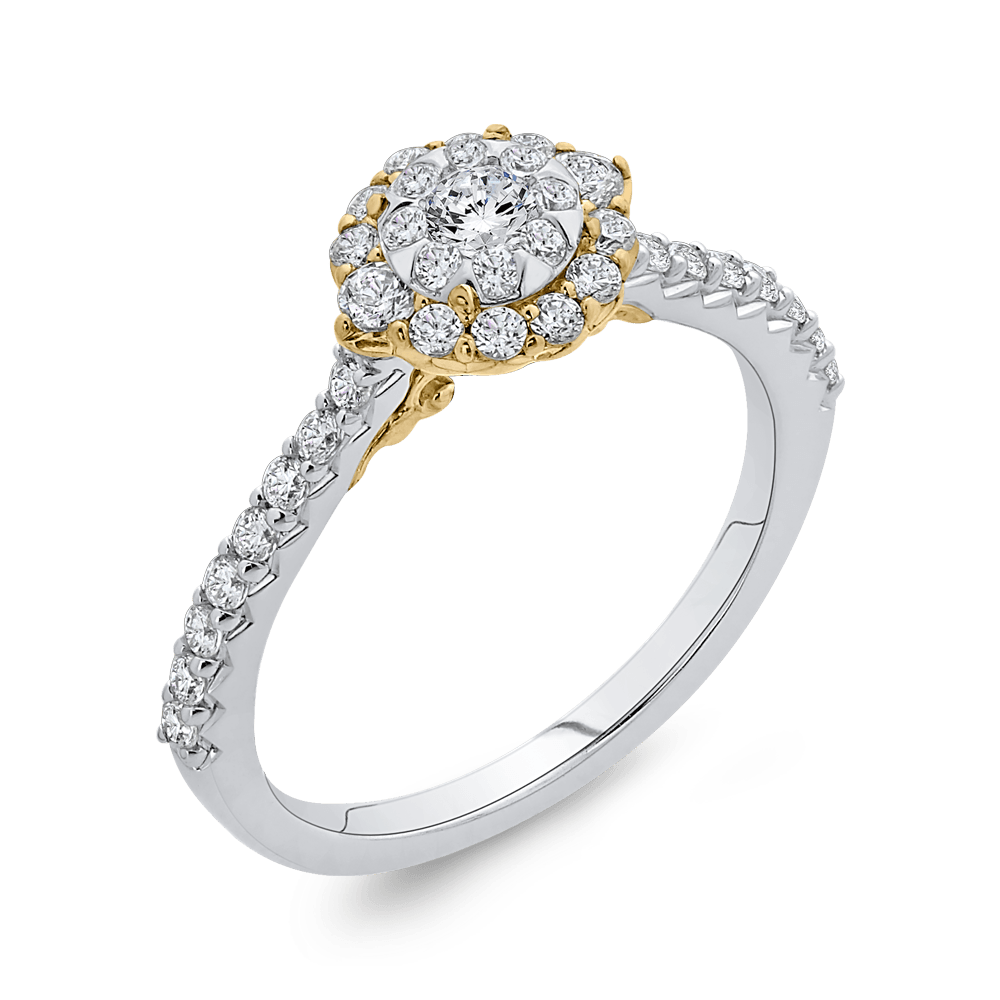 10K Two Tone Gold 5/8 ct Round White Diamond Double Halo Fashion Ring|***Complete Ring Engagement Ring LUMINOUS