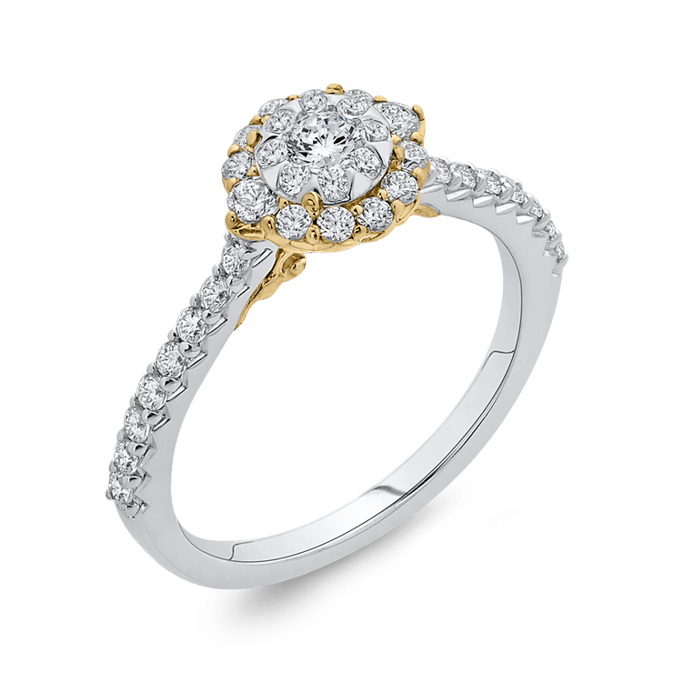 10K Two Tone Gold 5/8 ct Round White Diamond Double Halo Fashion Ring|***Complete Ring