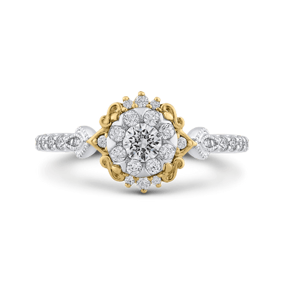 10K Two Tone Gold 5/8 ct Round White Diamond Double Flower Fashion Ring|***Complete Ring