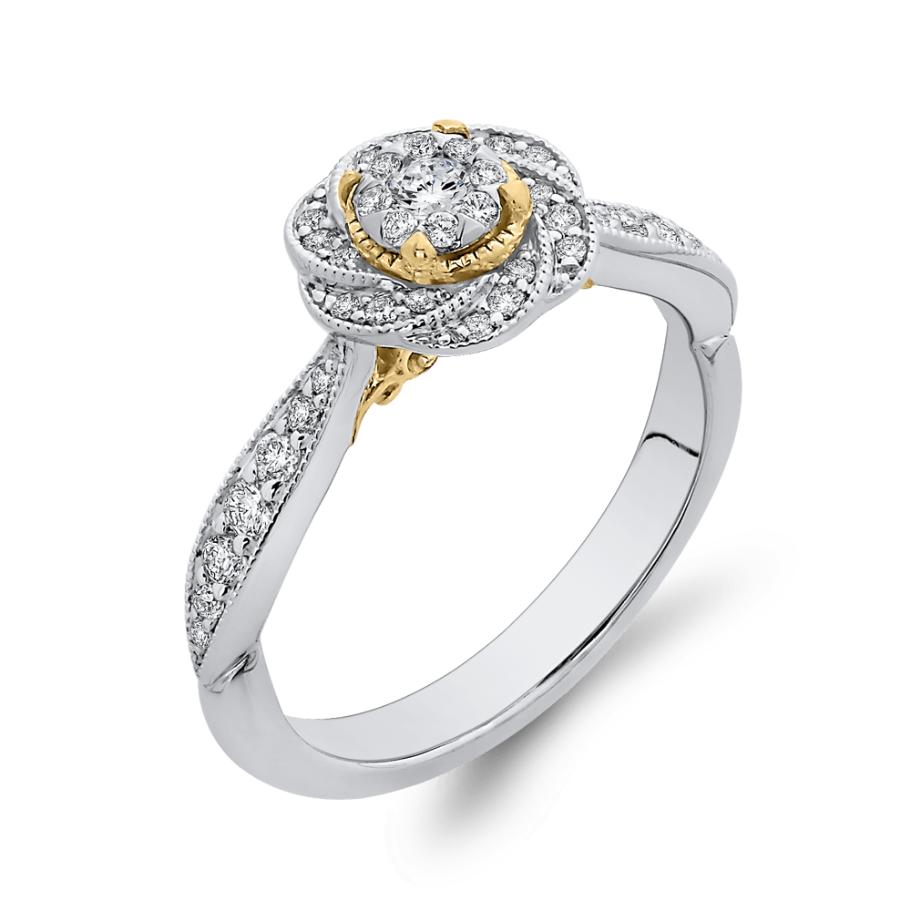 1/3 ct Round Diamond 10K Two Tone Gold Swirl Fashion Ring|***Complete Ring Engagement Ring LUMINOUS