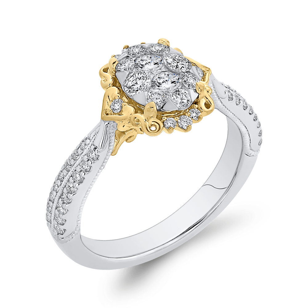 3/4 ct Round Diamond 10K Two Tone Gold Fashion Ring|***Complete Ring Engagement Ring LUMINOUS