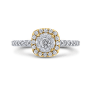 10K Two Tone Gold 5/8 ct Round White Diamond Fashion Ring|***Complete Ring Engagement Ring LUMINOUS