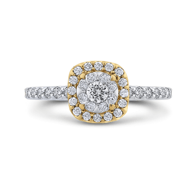 10K Two Tone Gold 5/8 ct Round White Diamond Fashion Ring|***Complete Ring