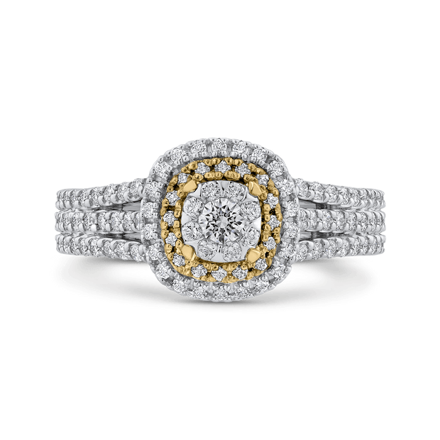 10K Two Tone Gold 1 ct Round White Diamond Fashion Ring|***Complete Ring Engagement Ring LUMINOUS