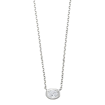 Oval Diamond Pendant Necklace BW James Jewelers