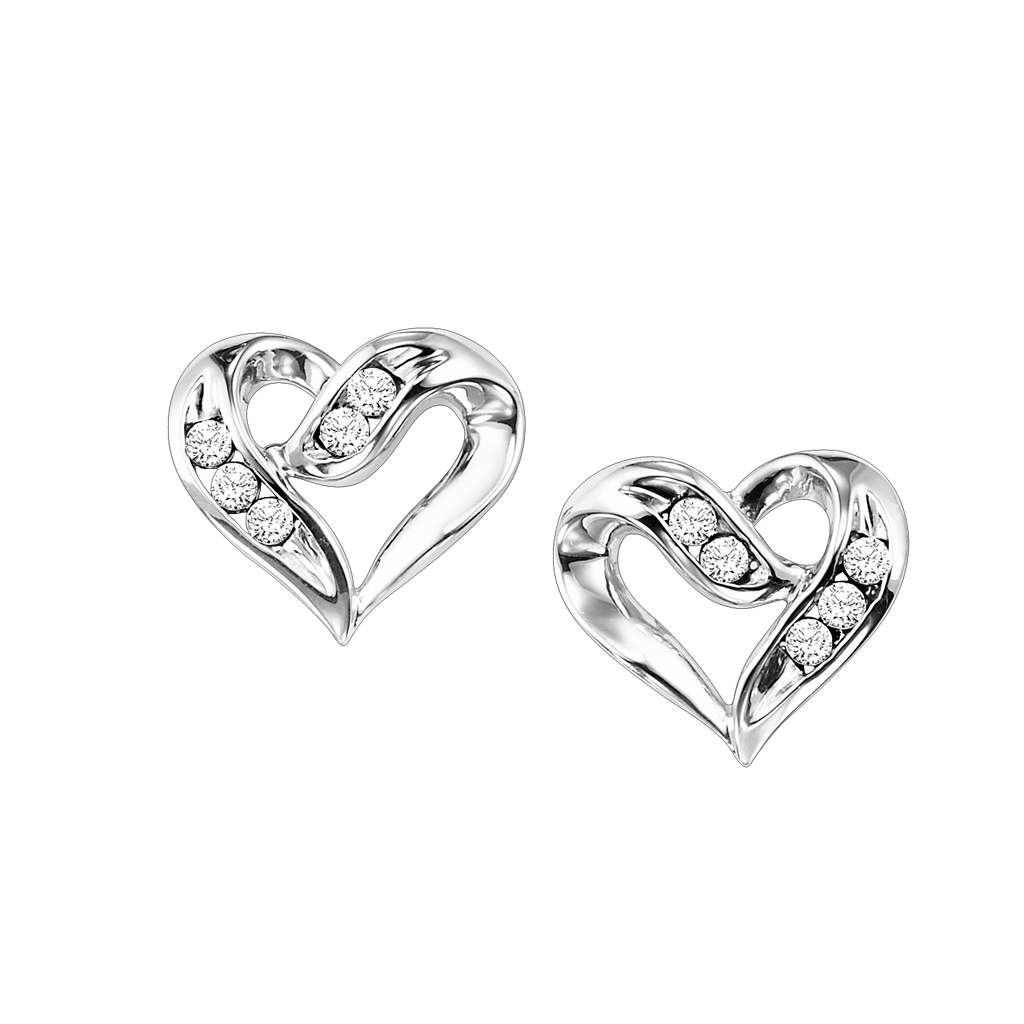 SS Heart Earrings 1/50 Ctw Earrings BW James Jewelers