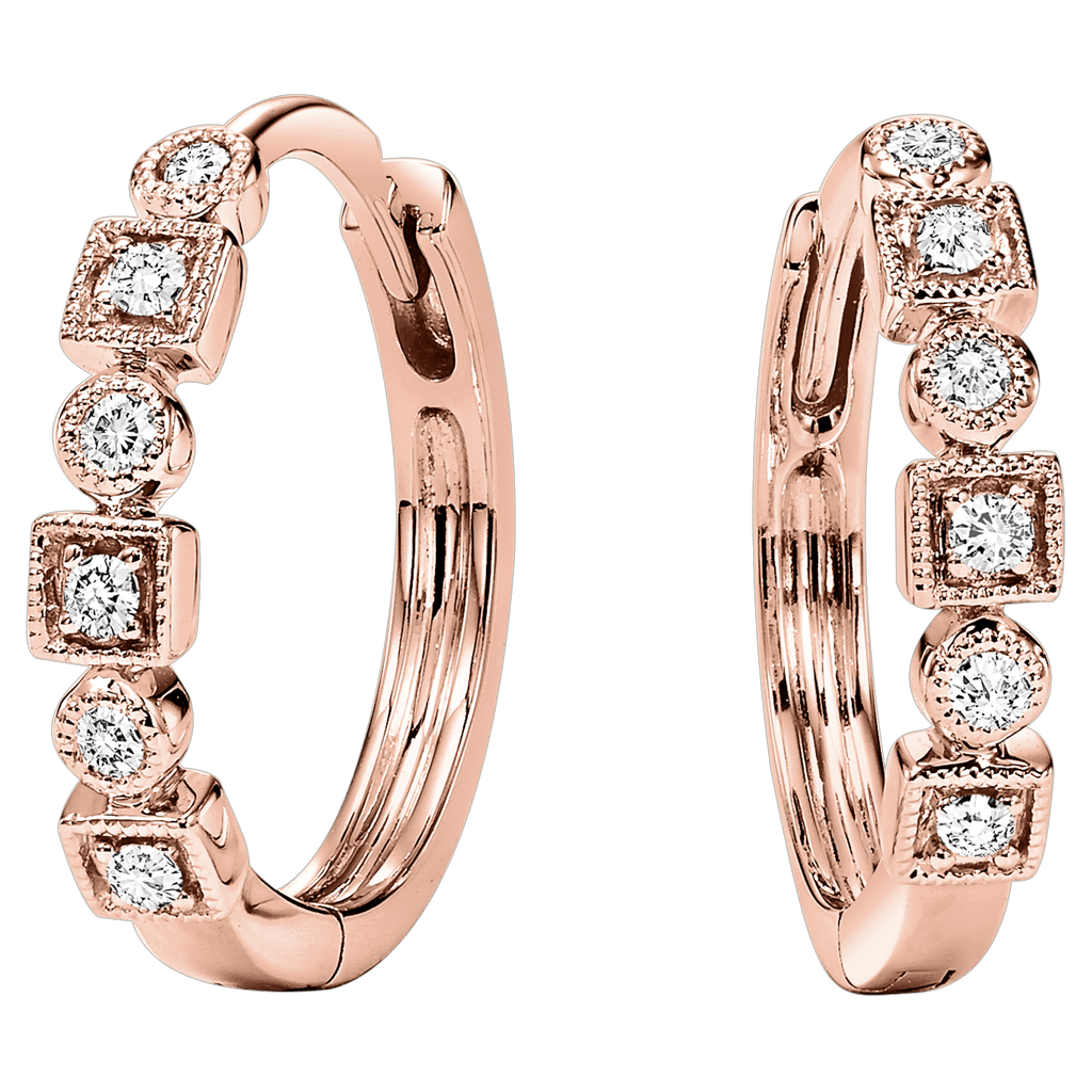 10K Rose Gold Diamond Mixable Earring 1/7 ctw Earrings BW James Jewelers