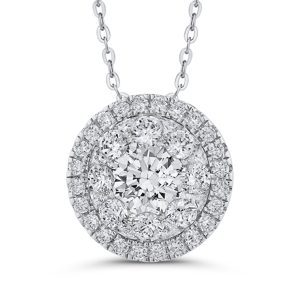14K White Gold Round Diamond Halo Pendant with Chain|***Complete Pendant Pendant LUMINOUS
