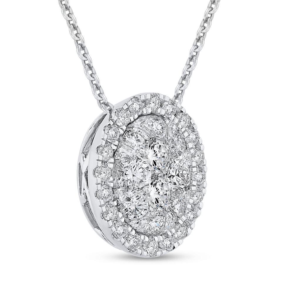14K White Gold Round Diamond Fashion Pendant with Chain|***Complete Pendant Pendant LUMINOUS