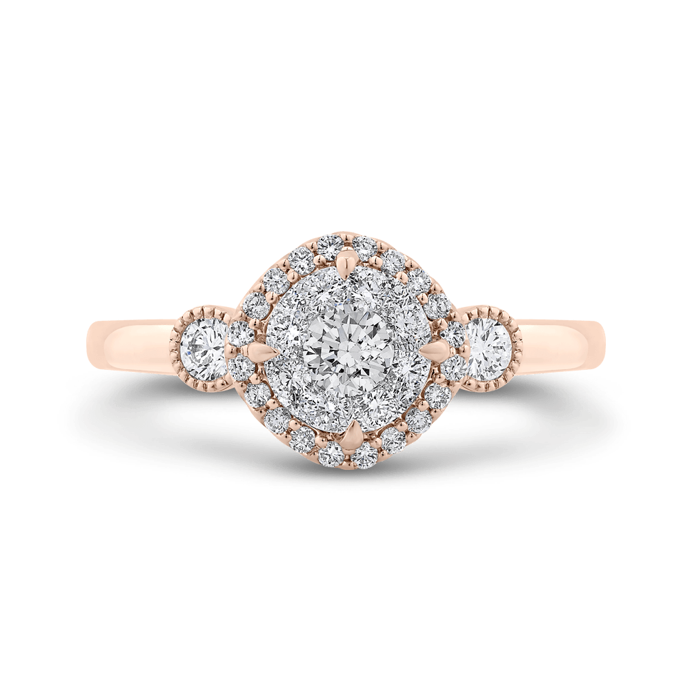 Round Diamond Halo Ring In 14K Two Tone Gold|***Complete Ring Ring LUMINOUS